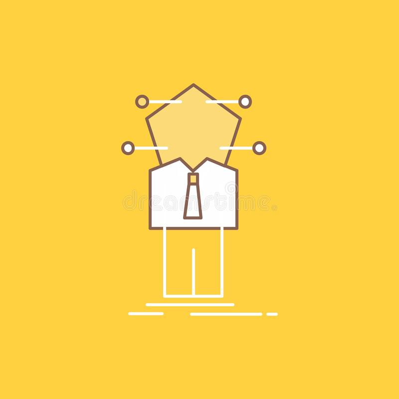 Business, connection, human, network, solution Flat Line Filled Icon. Beautiful Logo button over yellow background for UI and UX, stock illustration