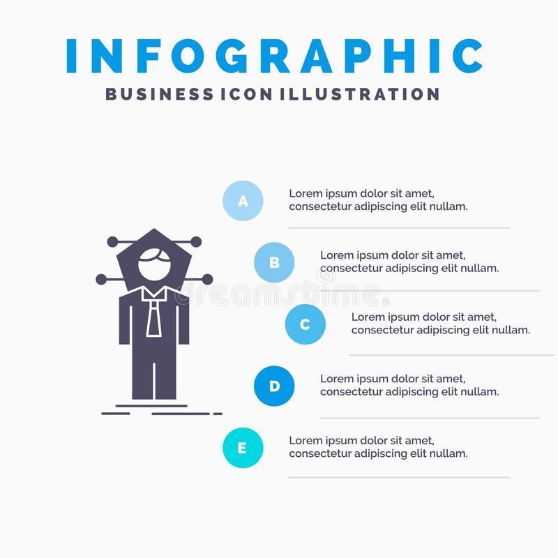 Business, connection, human, network, solution Infographics Template for Website and Presentation. GLyph Gray icon with Blue vector illustration