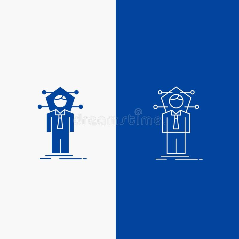 Business, connection, human, network, solution Line and Glyph web Button in Blue color Vertical Banner for UI and UX, website or stock illustration