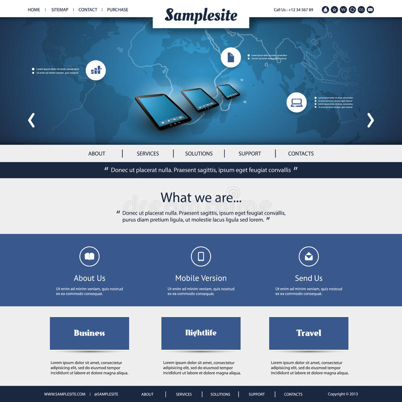 Map Design Website Template: Business, Connection, Network