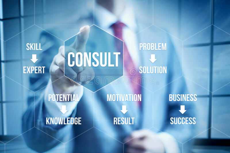 Business Consult. Ing concept, businessman selecting interface royalty free stock photography