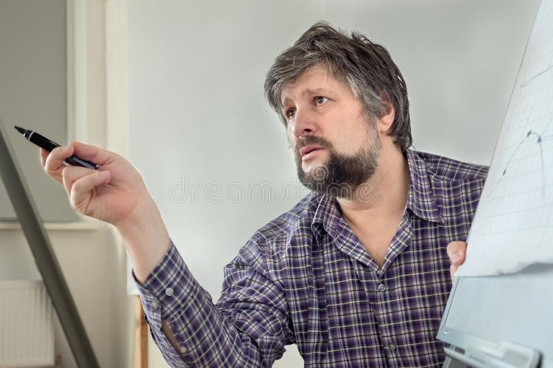 Lecturer, teacher, professor explaining the subject. Education background. Discussion of urgent problems, globalization. Science royalty free stock photography