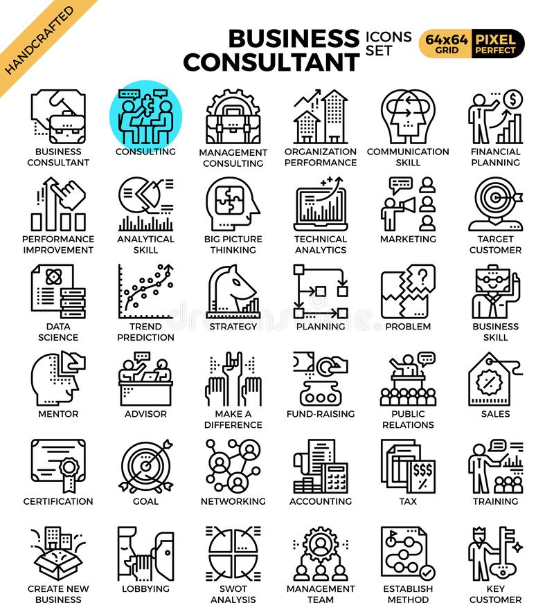 Business consultant icons stock illustration
