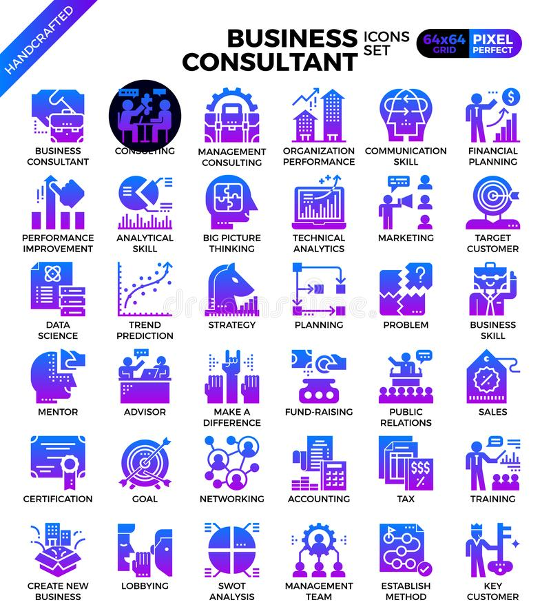 Business consultant icons. Business consultant icon illustration set in modern line icon style for ui, ux, website, web, app graphic design vector illustration