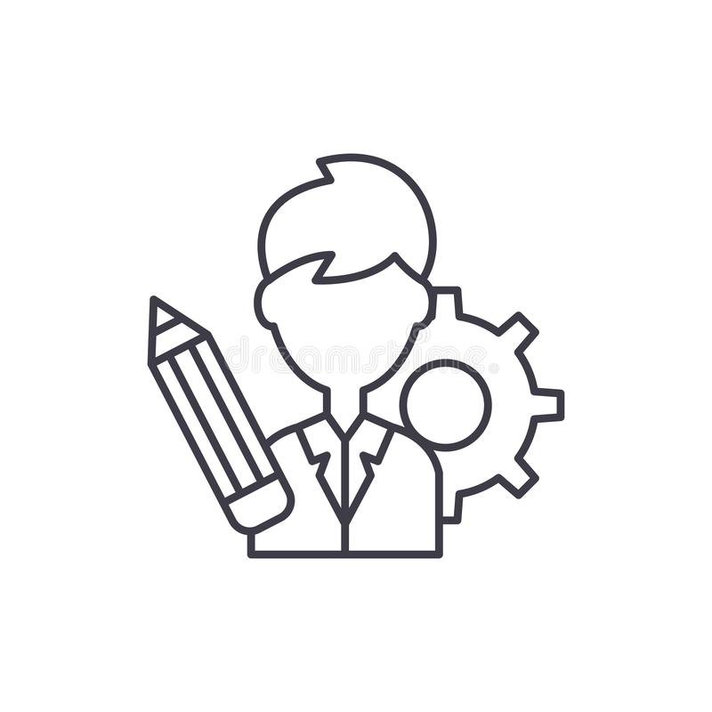 Business consultant line icon concept. Business consultant vector linear illustration, symbol, sign stock illustration