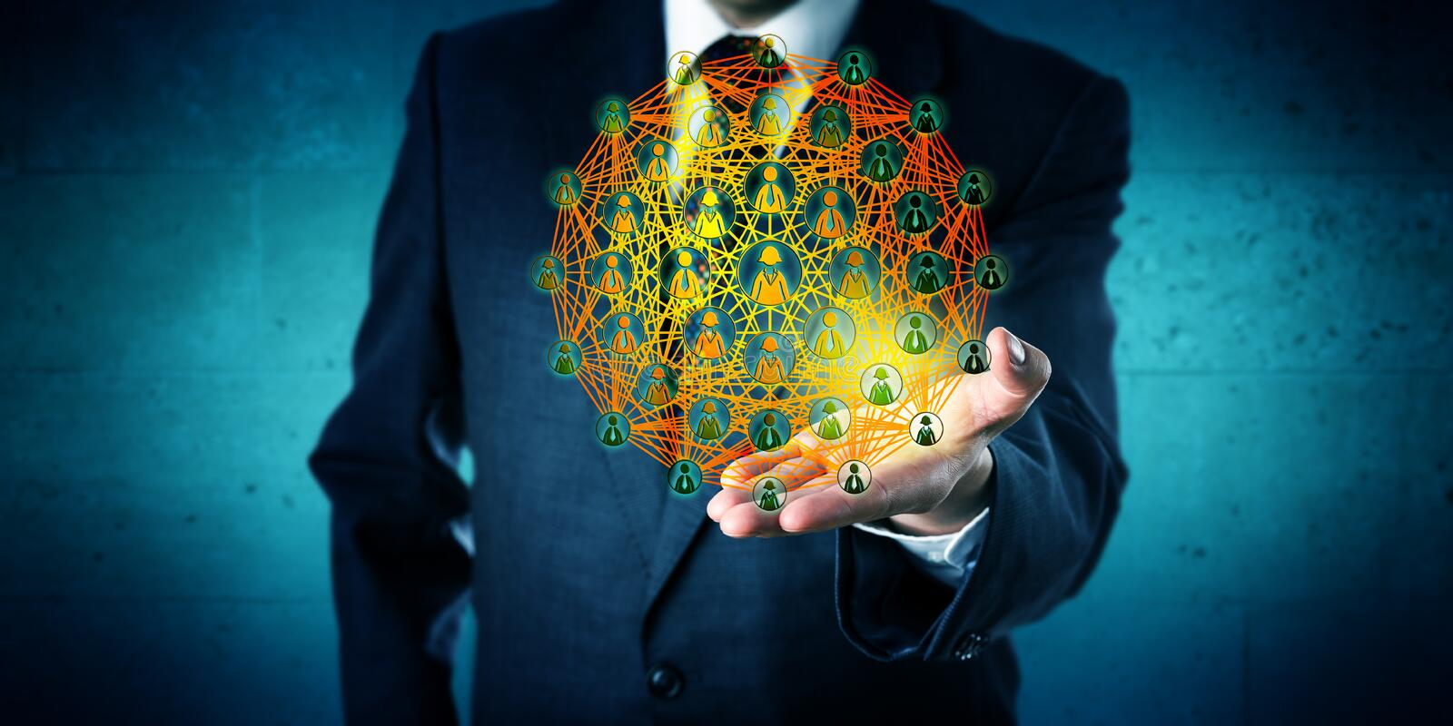 Business Consultant Showing A Global Network stock image