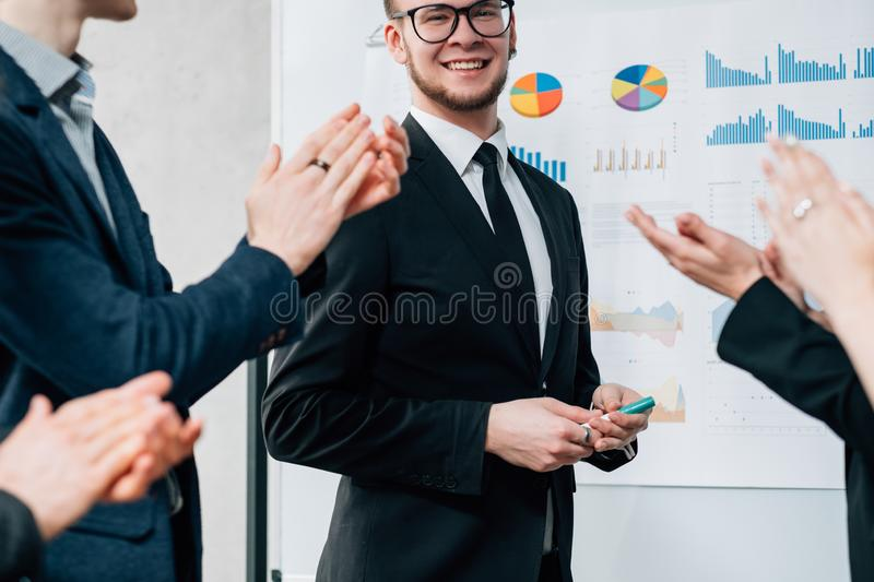 Business consultant successful career applauding stock image