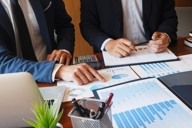 Business consulting businessman meeting brainstorming report project analyze stock photography