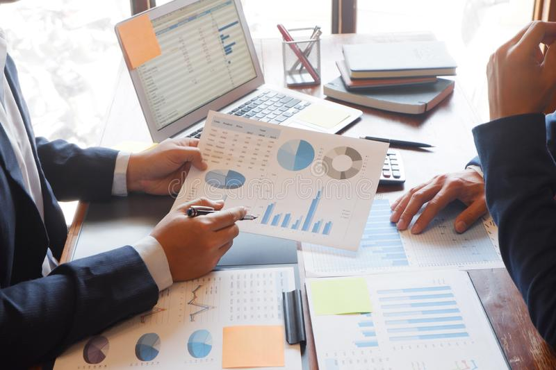 Business consulting businessman meeting brainstorming report project analyze stock images