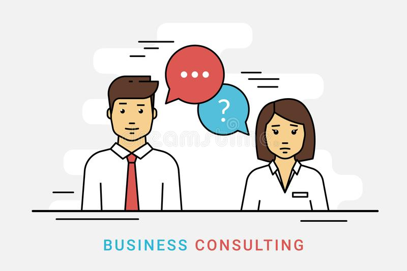 Business consulting and corporate solution with question and idea speech bubbles on gray. Business consulting and corporate solution. Flat line vector contour royalty free illustration