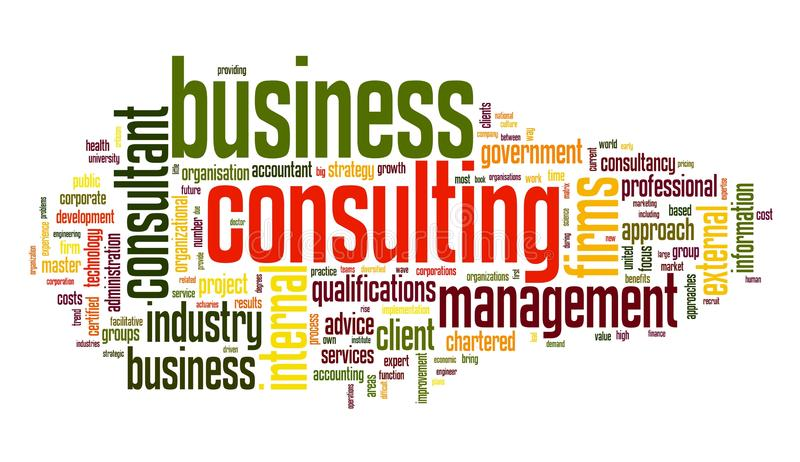 Business consulting in word tag cloud royalty free illustration