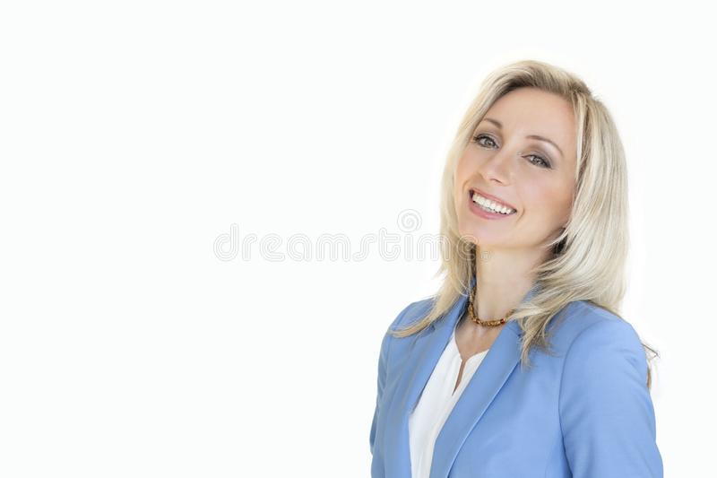Business content.Portrait of a blonde woman. Isolated white background. royalty free stock image