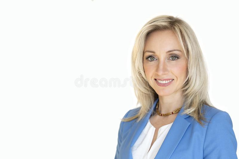 Business content.Portrait of a blonde woman. Isolated white background. royalty free stock images