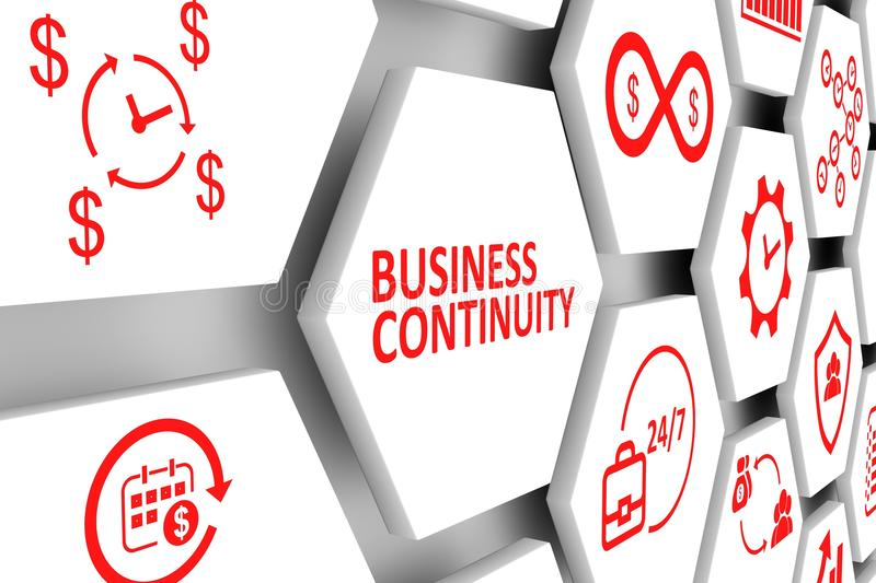 Business continuity concept. Cell background 3d illustration royalty free illustration