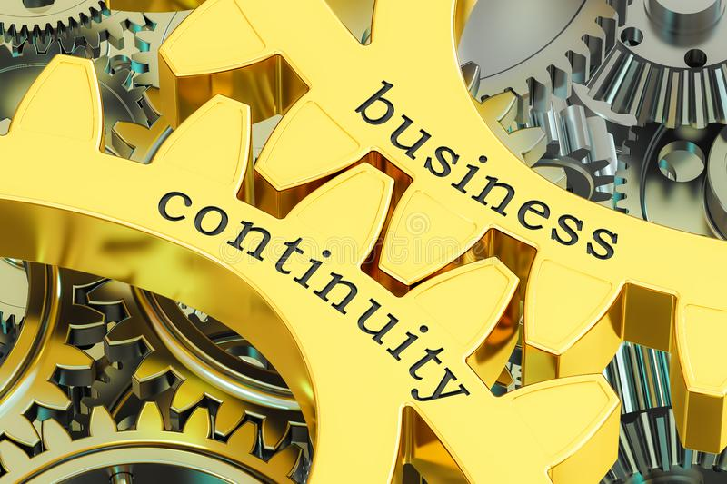 Business continuity concept on the gearwheels, 3D rendering. Business continuity concept on the gearwheels, 3D royalty free illustration