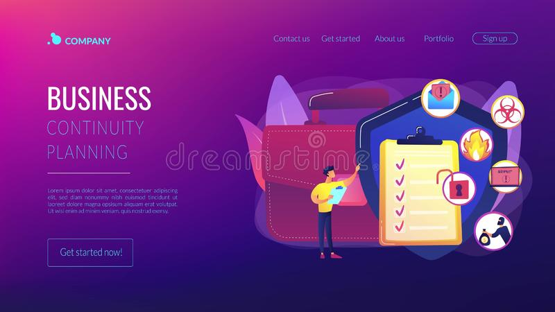 Business continuity and disaster recovery concept landing page. Economic crisis. Trouble minimization. Business continuity and disaster recovery, business royalty free illustration