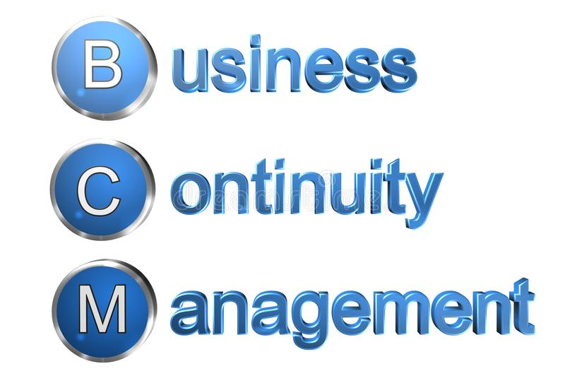 Business Continuity Management. An illustration with the text BCM, for Business Continuity Management stock illustration