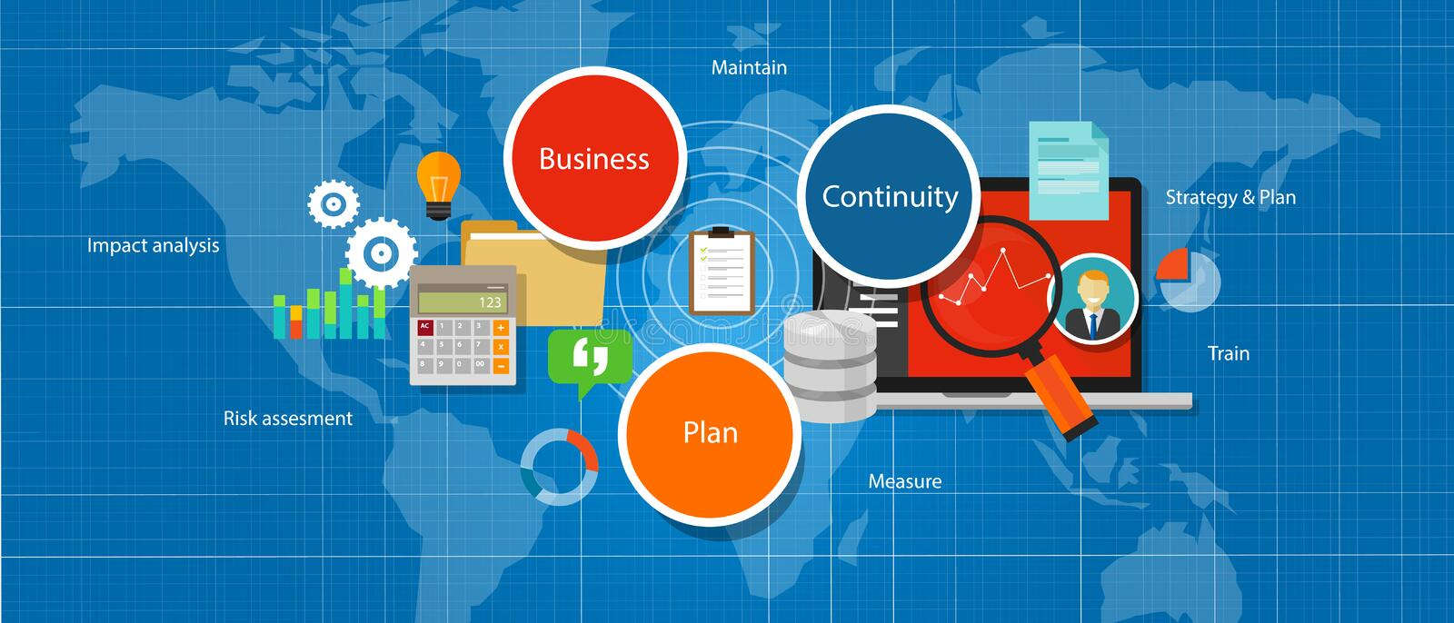 Business continuity plan management strategy assesment. Vector royalty free illustration
