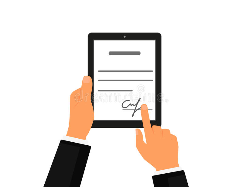 Business contract with signature on tablet pc. Flat vector icon stock illustration