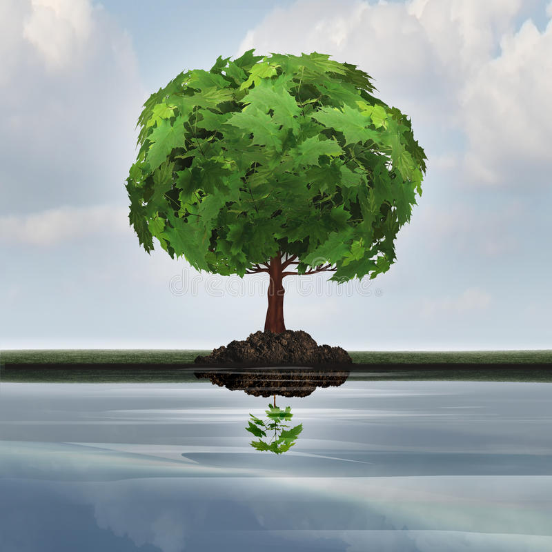 Business Contraction Concept. Or economic decline symbol as a mature tree casting a reflection in the water of a small young sapling with 3D illustration royalty free illustration