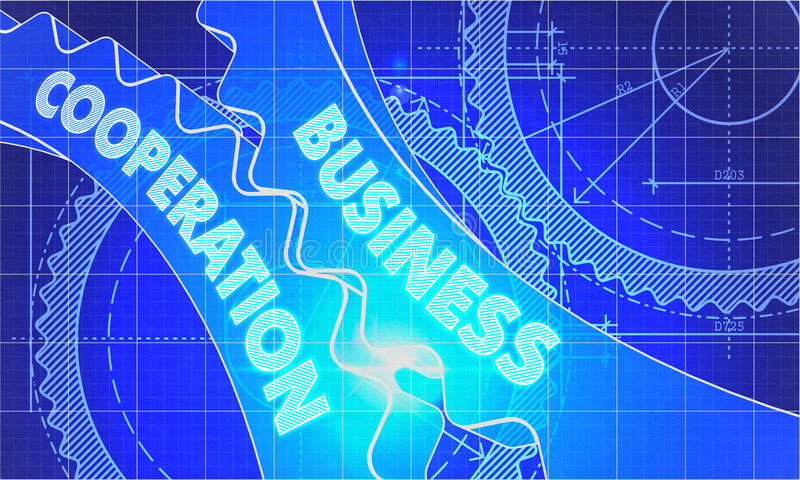 Business Cooperation on Blueprint of Cogs royalty free stock photo