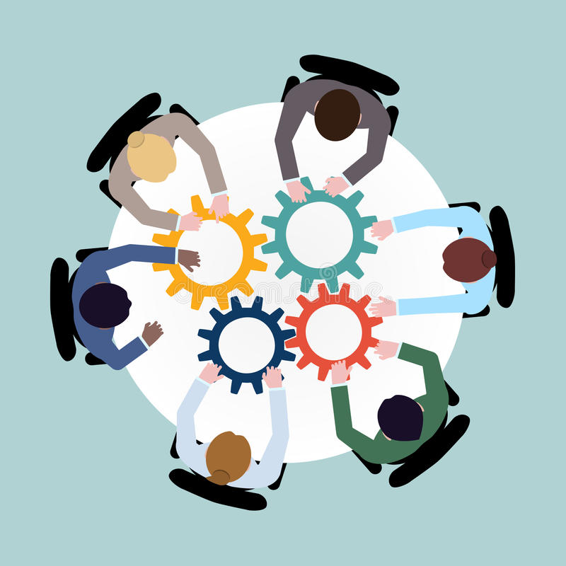 Business cooperation concept. Business team meeting cooperation concept top view group people on table with cogwheels vector illustration vector illustration