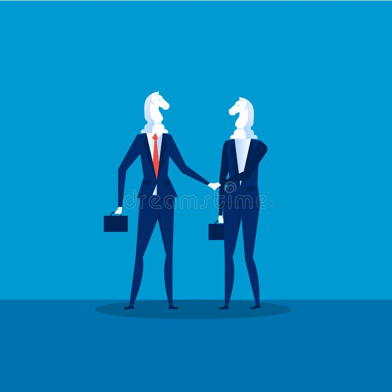 Business cooperation Vector. Two Businessmen Chess Horses Black shaking hand for join business to successful . Illustration royalty free illustration