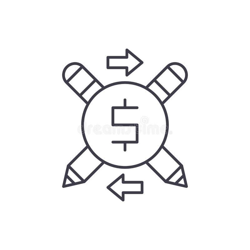 Business copywriter line icon concept. Business copywriter vector linear illustration, symbol, sign royalty free illustration