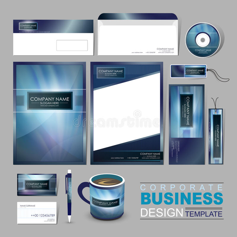 business corporate identity template with abstract blue background vector illustration