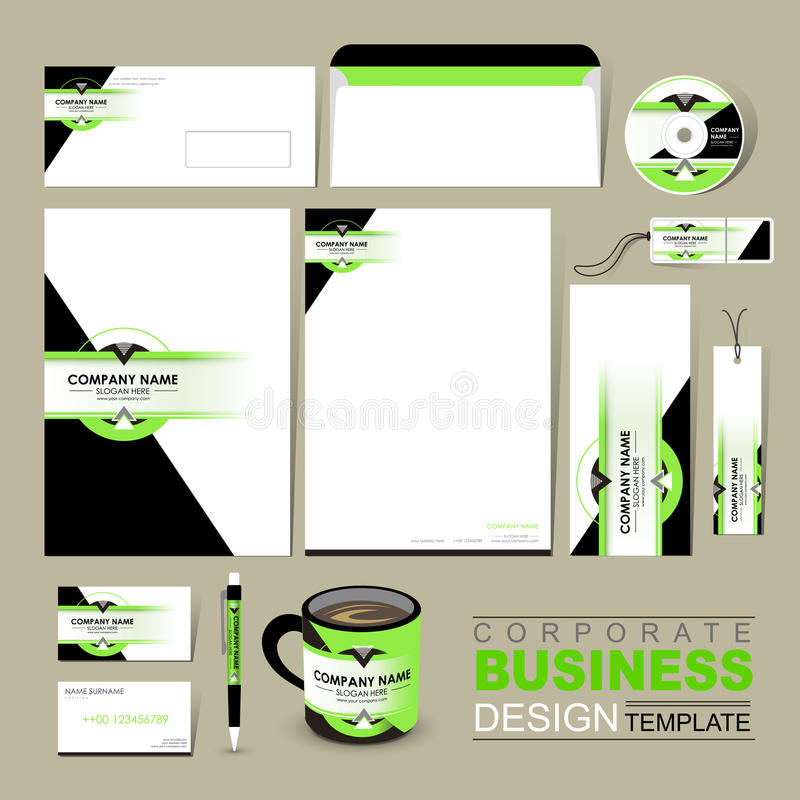 Business corporate identity template with green and black vector illustration