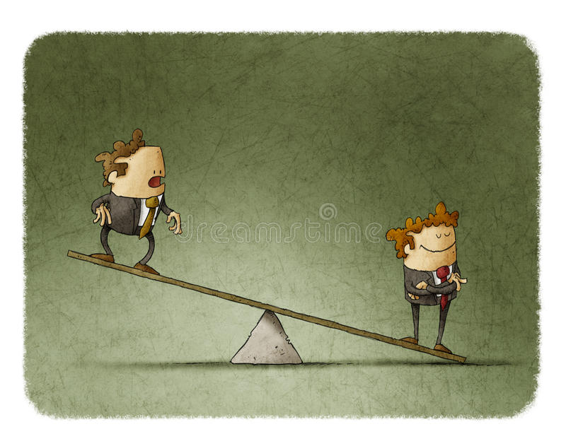 Business corporate inequality. Illustration of business corporate inequality concept with businessmen on a scale vector illustration