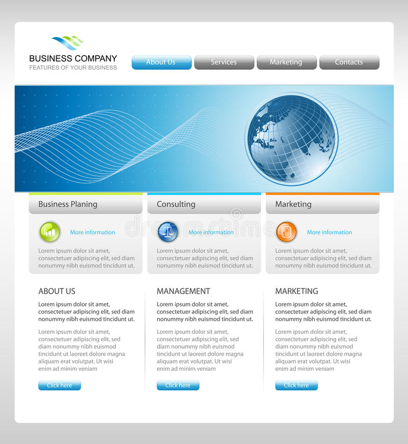 Business corporate web site template royalty free illustration