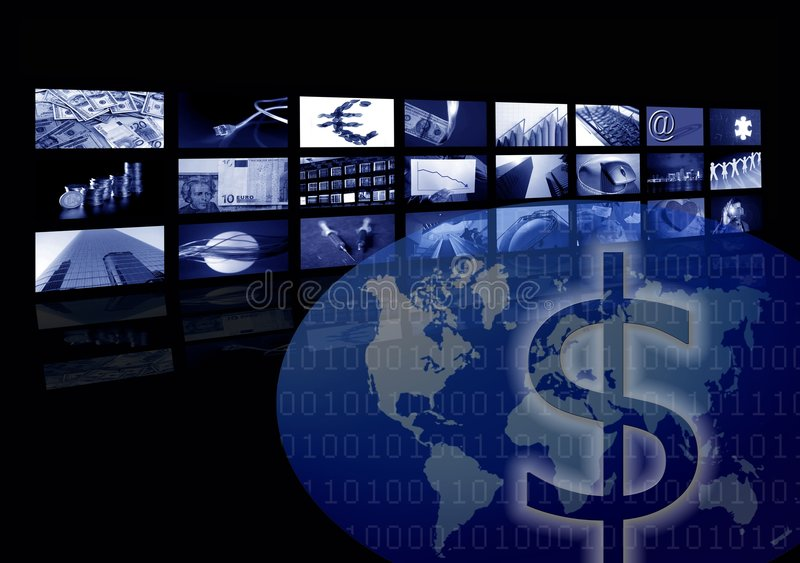 Business corporate, world map, multiple screen stock photo