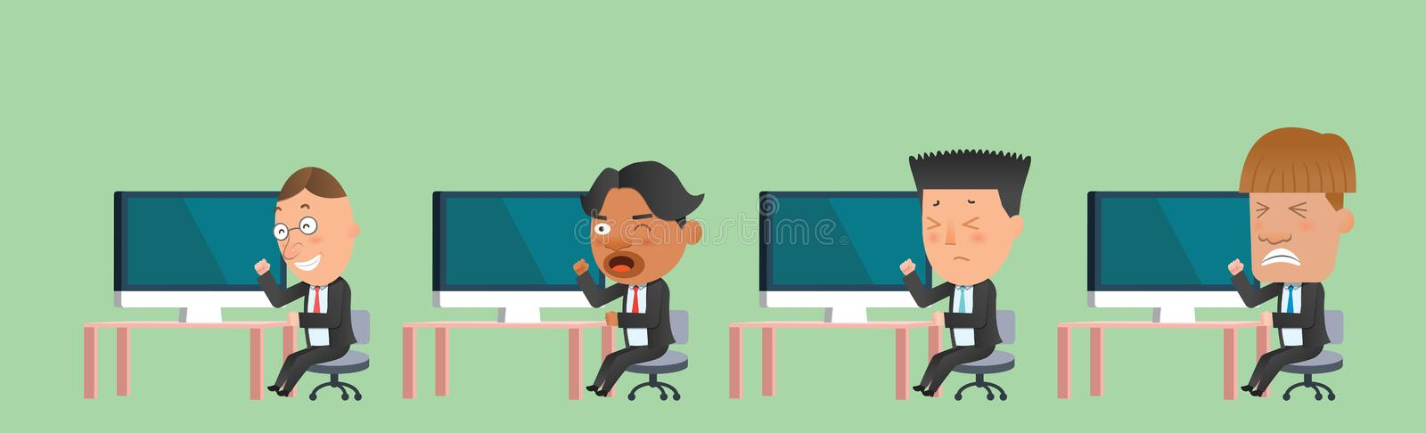 Business corporation team computer concept flat character vector illustration