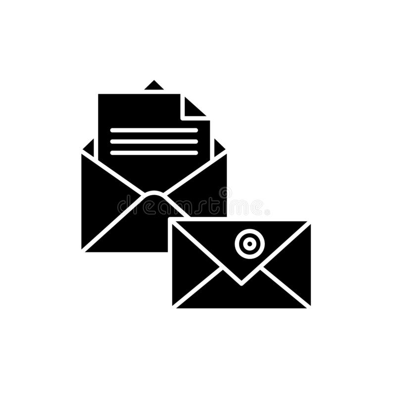 Business correspondence black icon, vector sign on isolated background. Business correspondence concept symbol. Business correspondence black icon, concept stock illustration