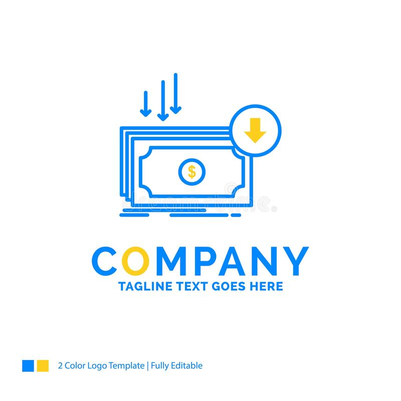 Business, cost, cut, expense, finance, money Blue Yellow Busines. S Logo template. Creative Design Template Place for Tagline stock illustration