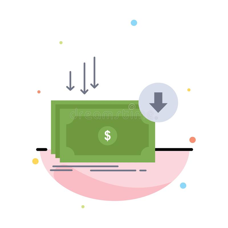 Business, cost, cut, expense, finance, money Flat Color Icon Vector stock illustration