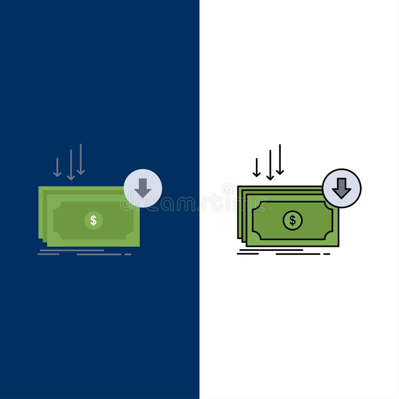 Business, cost, cut, expense, finance, money Flat Color Icon Vector royalty free illustration