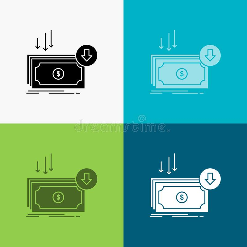 Business, cost, cut, expense, finance, money Icon Over Various Background. glyph style design, designed for web and app. Eps 10. Vector illustration. Vector stock illustration