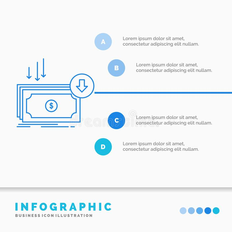 Business, cost, cut, expense, finance, money Infographics Template for Website and Presentation. Line Blue icon infographic style. Vector illustration. Vector vector illustration