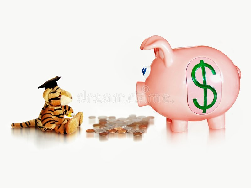 Business counseling. A teddy, coins and a piggy bank on a white background royalty free stock photo