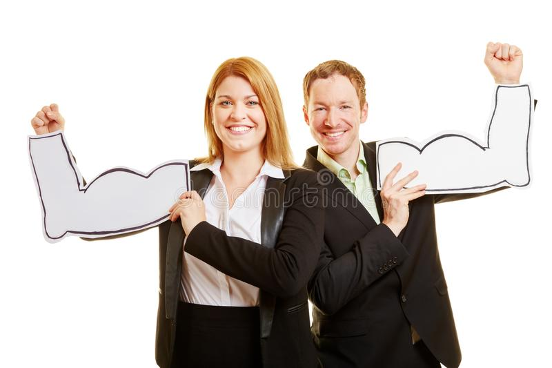 Business couple as a very motivated team royalty free stock photos