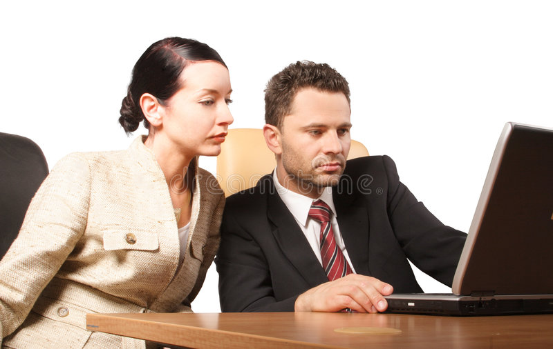 Business couple - audit royalty free stock images
