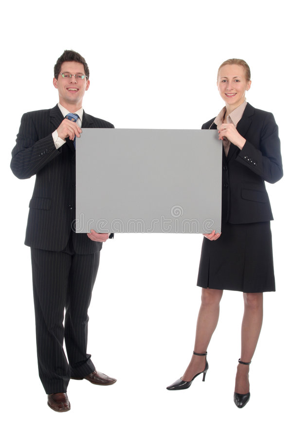 Download Business Couple Holding Blank Sign Stock Image - Image: 1793189