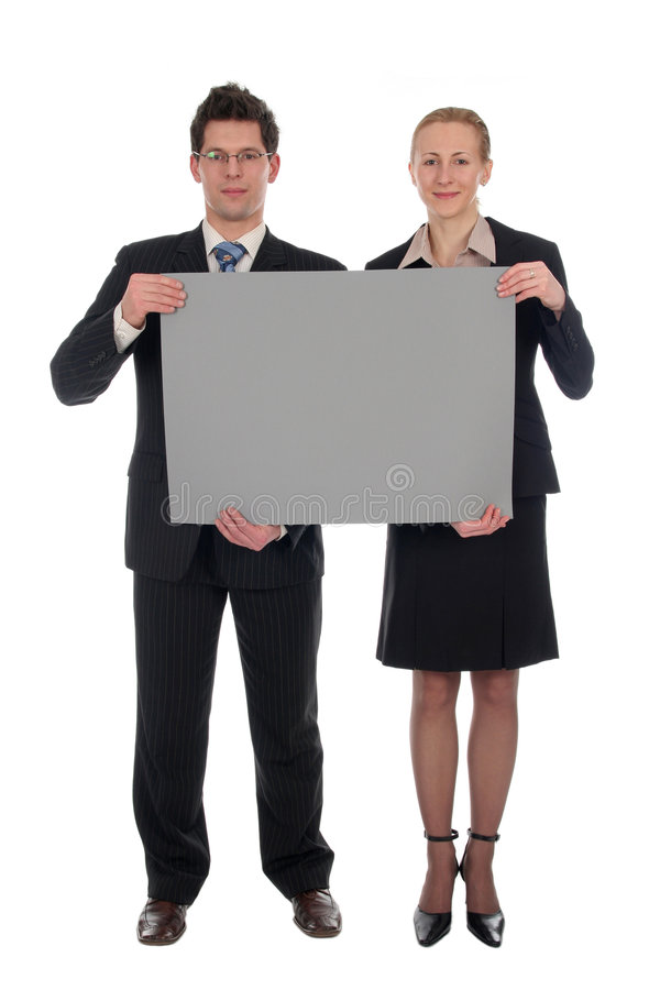 Business couple holding blank sign stock photos
