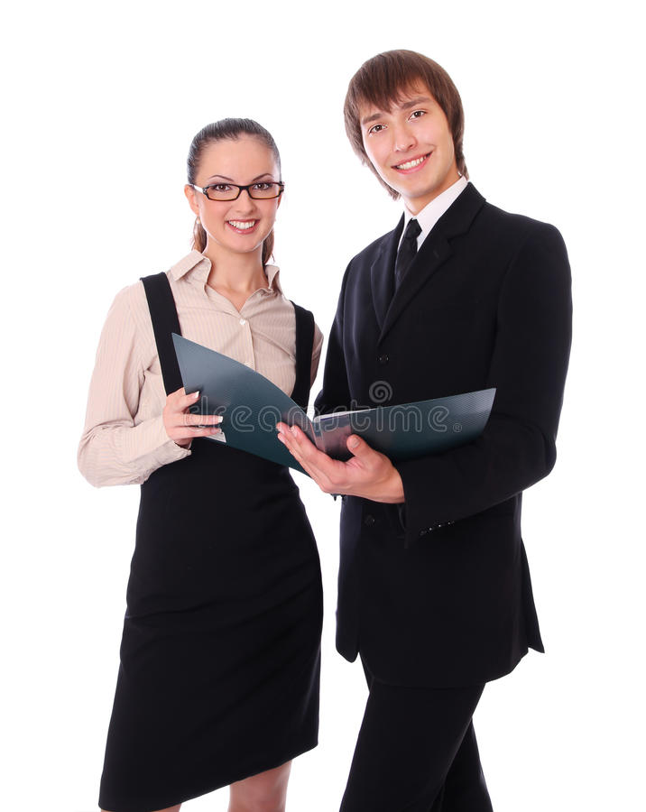 Business couple is looking documents stock photos