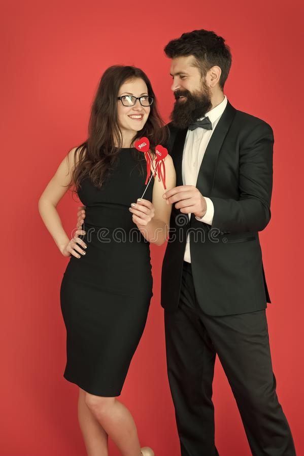 Business couple in love on meeting. valentines day heart. bearded businessman with lady on business meeting. formal royalty free stock photos