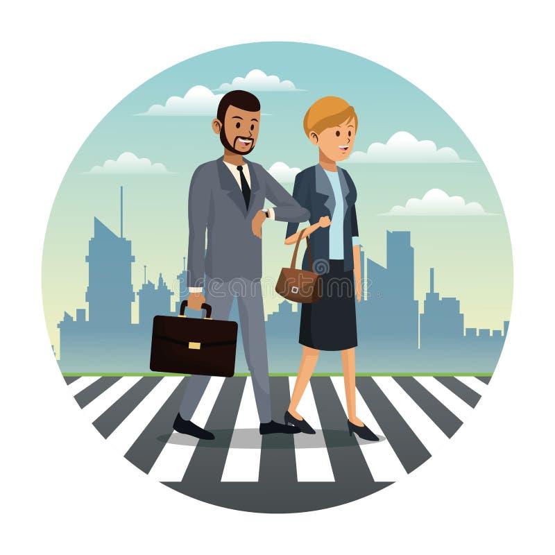 business couple walk street urban background royalty free illustration