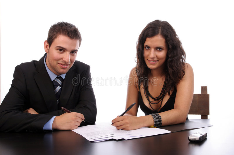 Business Couple working. Isolated over white background royalty free stock photos