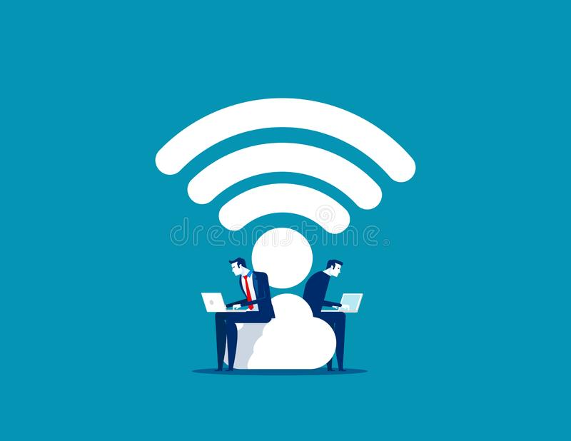 Business couple and working. Concept business vector, Wifi, Portable, Technology vector illustration